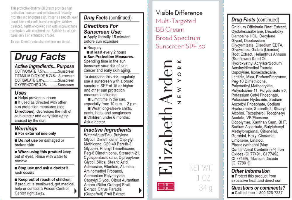 Visible Difference Multi Targeted Bb Cream Broad Spectrum Sunscreen Spf 30 Shade 1 (Octinoxate, Titanium Dioxide, Octisalate, And Oxybenzone) Cream [Elizabeth Arden, Inc]