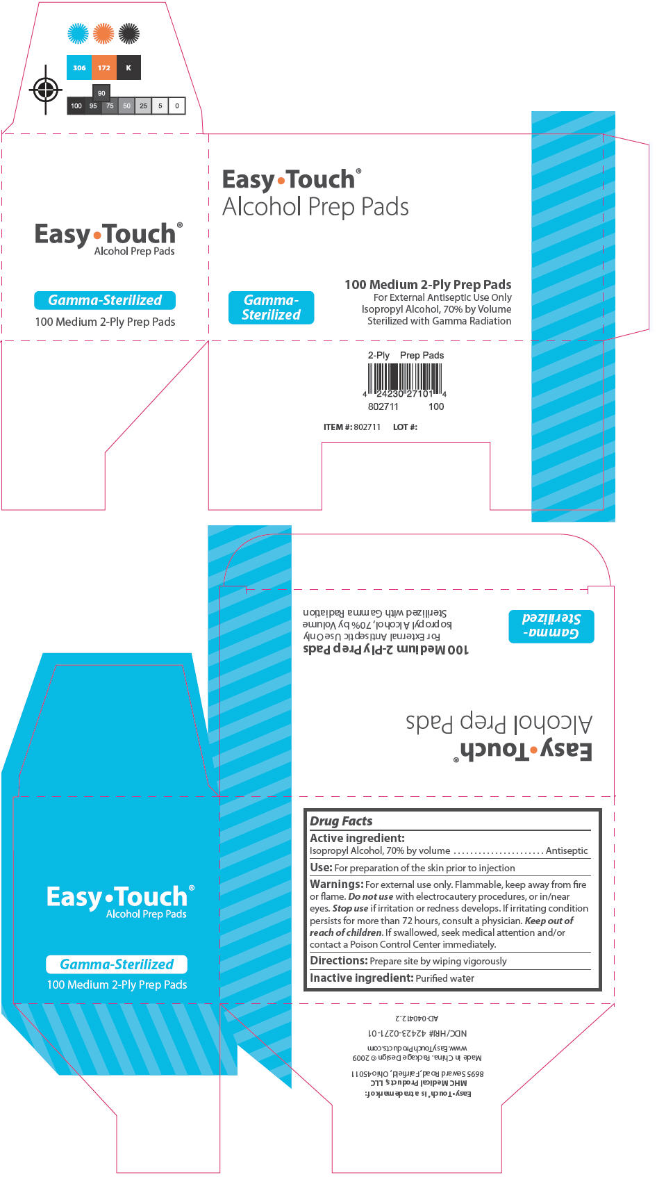 Easytouch Alcohol Prep Pads Sterile (Isopropyl Alcohol) Swab [Mhc Medical Products, Llc]