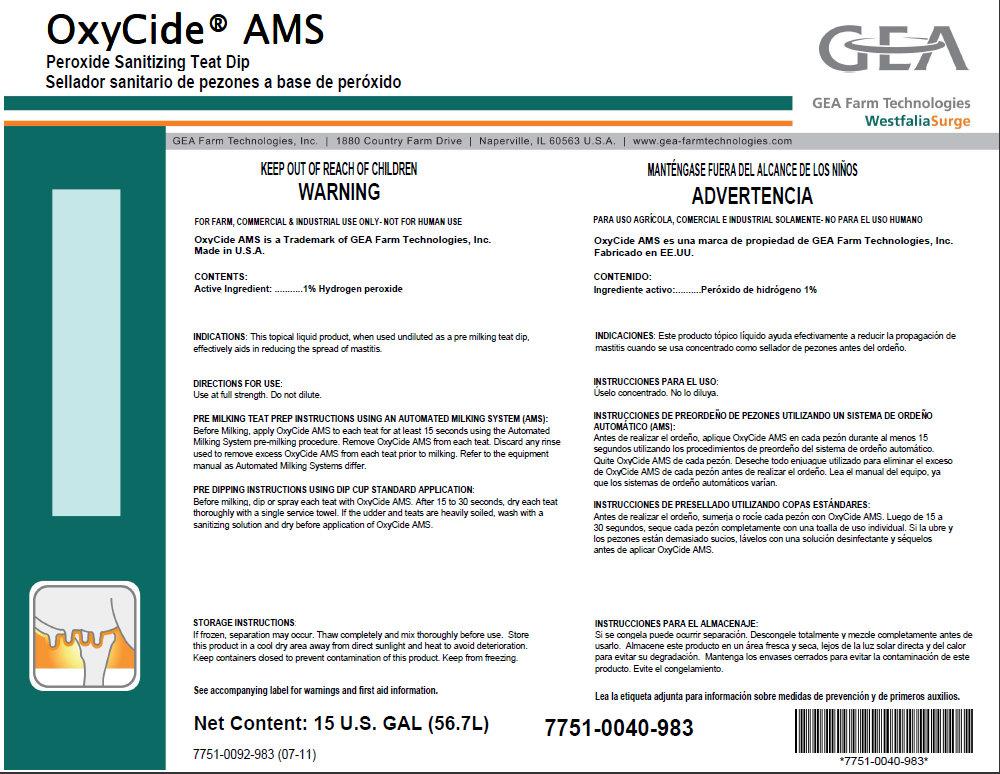 Oxycide Ams Peroxide Sanitizing Teat Dip (Hydrogen Peroxide) Liquid [Gea Farm Technologies, Inc.]