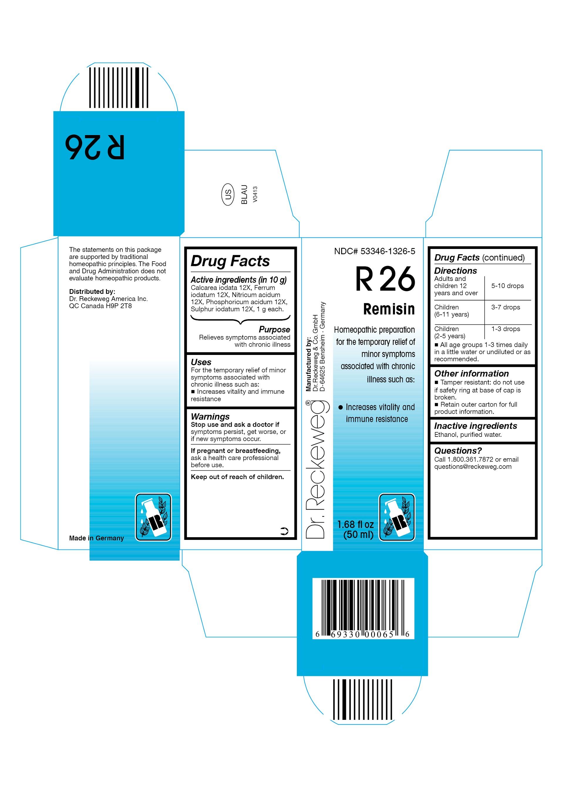 Dr. Reckeweg R26 Remisin Combination Product (Calcarea Iodata 12x, Ferrum Iodatum 12x, Nitricum Acidum 12x, Phosphoricum Acidum 12x, Sulphur Iodatum 12x) Liquid [Pharmazeutische Fabrik Dr. Reckeweg & Co]