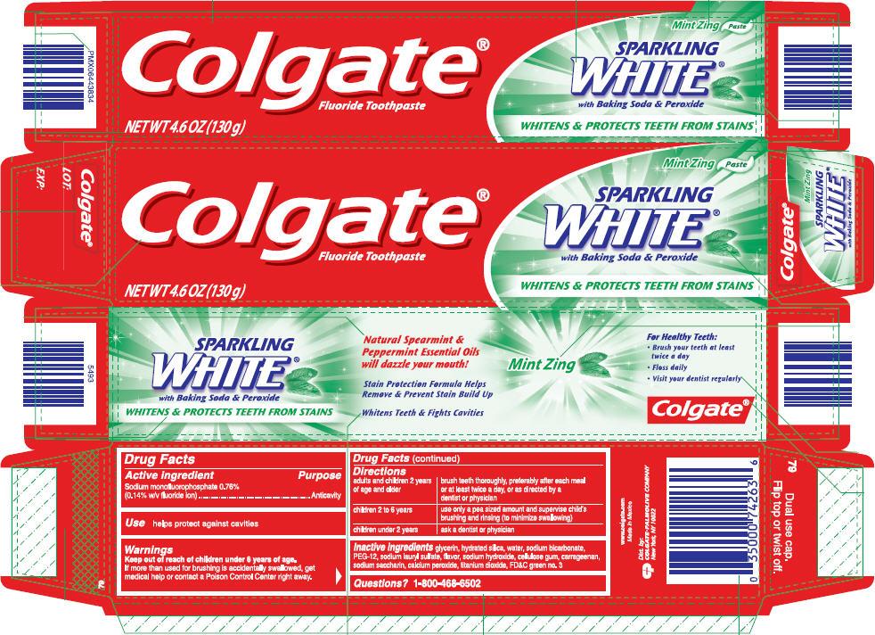 Colgate Sparkling White Mint Zing (Sodium Monofluorophosphate) Paste, Dentifrice [Mission Hills, S.a. De C.v.]
