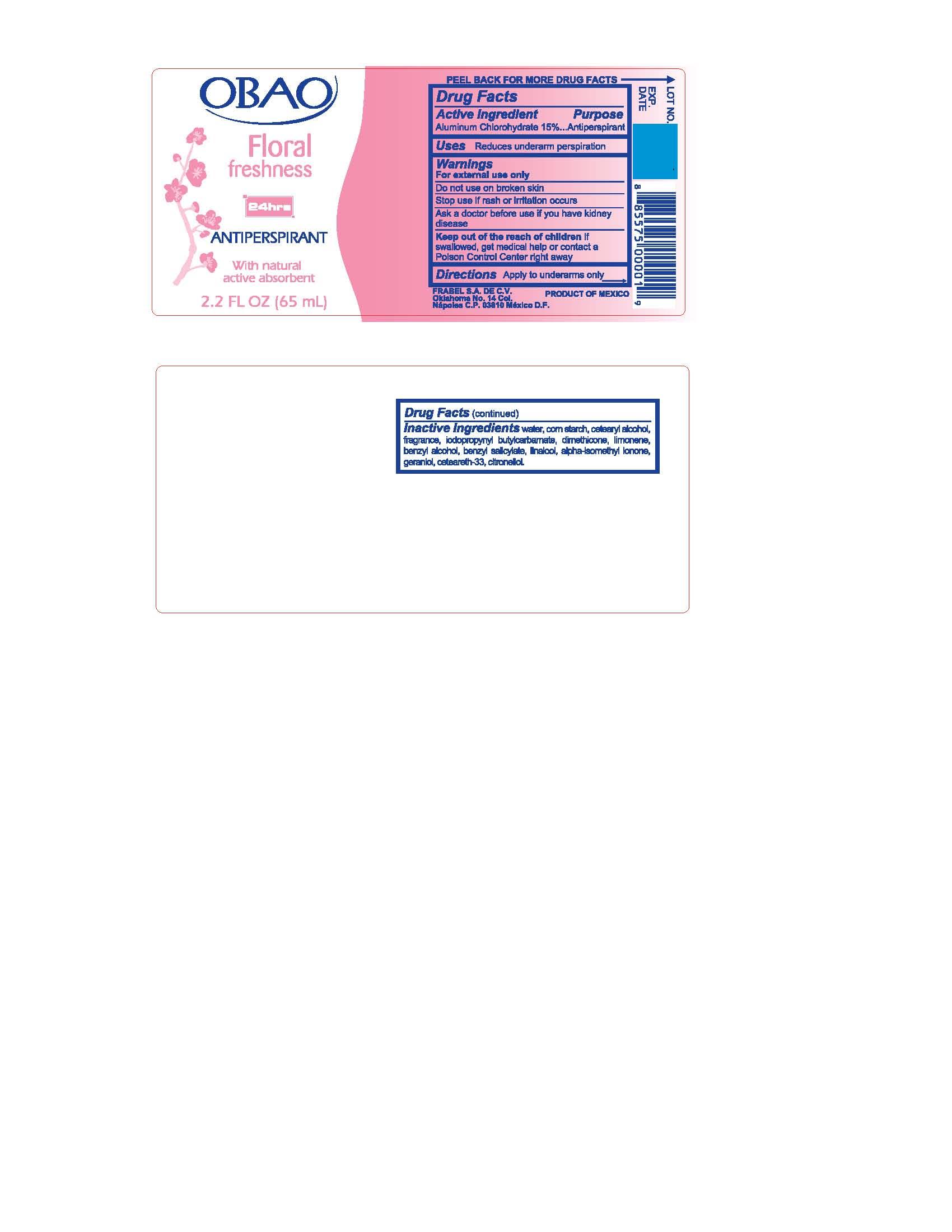 Antiperspirant Deodorant (Aluminum Chlorohydrate) Liquid [Frabel S.a De C.v.]