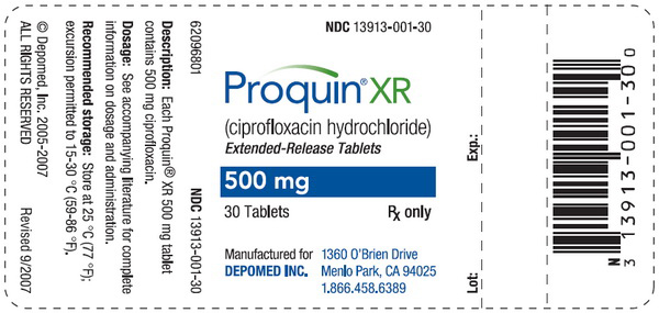 Proquin Xr (Ciprofloxacin Hydrochloride) Tablet, Film Coated, Extended Release [Depomed, Inc.]