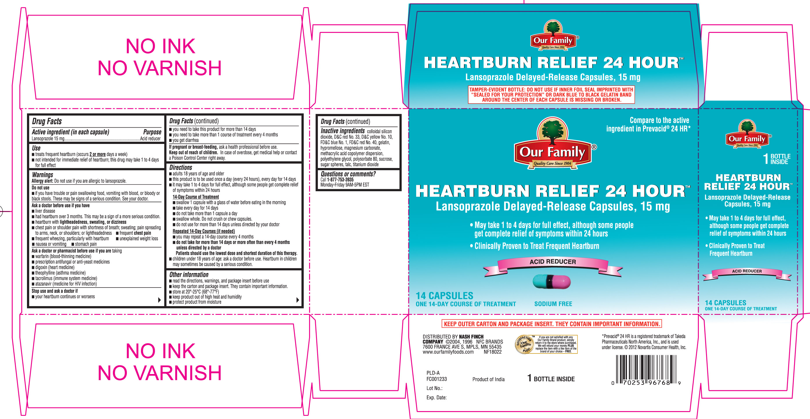 Heartburn Relief 24 Hour (Lansoprazole) Capsule, Delayed Release [Our Family (Nash Finch Company)]