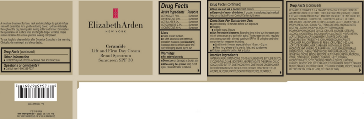 Ceramide Lift And Firm Day Broad Spectrum Sunscreen Spf 30 (Octinoxate, Oxybenzone, Octisalate, Octocrylene, And Avobenzone) Cream [Elizabeth Arden, Inc]